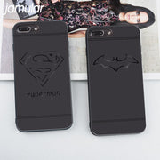 JAMULAR Phone Case For IPhone X 7 Plus Cool Black Silicone Soft Back Cover For IPhone 7 8 6 6s Superman Batman Iron Man Cases