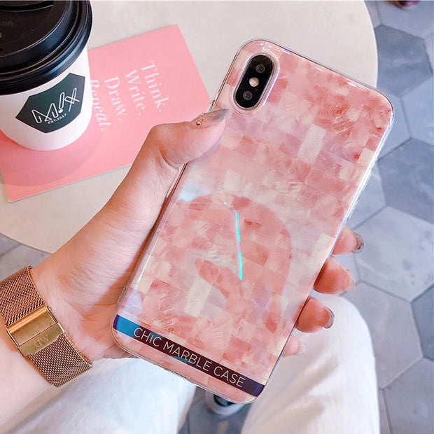 JAMULAR Pink Chic Marble Blu-Ray Phone Case For IPhone X 10 Glossy Soft Cases Cover For Iphone 6s 6 7 8 Plus Grid Housing Fundas
