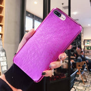 JAMULAR Purple Phone Cases For IPhone 7 X 8 6 6S Plus PU Leather Soft Back Cover For IPhone X 8 Fashion Full Protect Matte Cases