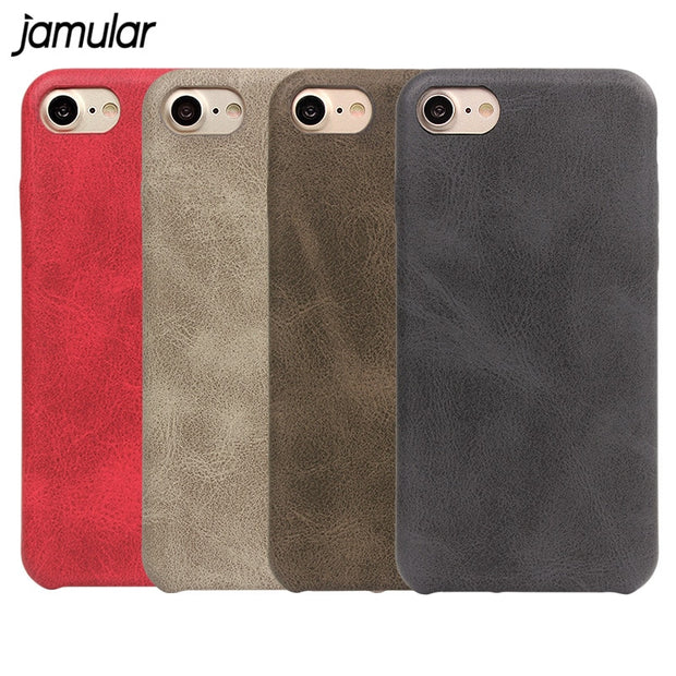 JAMULAR Vintage PU Leather Phone Case For Iphone X 8 6 6s 7 Plus Simple Soft Phone Cover For Iphone 7 8 6 Plus Protective Shell