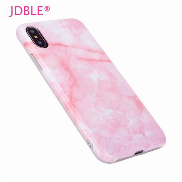JDBLE Marble Cases For Iphone7 7Plus Fitted Cases Pink Marble Image Soft IMD Case For Iphone6 6S 8 8Plus X Lady Capa