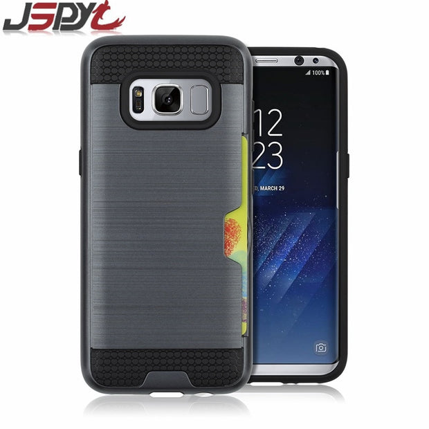 JSPYL Coque Brushed Armor Case For Samsung Galaxy A3 A5 A7 2016 Back Cover For Samsung A3 A5 A7 2017 Cases With Card Slot Case