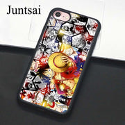 Juntsai Anime One Piece Portgas D. Ace Monkey Luffy Case For IPhone 8 7 6 6s Plus TPU Cover For IPhone X 5 5s SE Full Back Shell