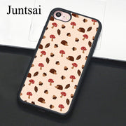 Juntsai Cute Hedgehog Mushroom Nut Pattern Case For IPhone 7 6 6s Plus Rubber Cover For IPhone7 8 Plus X 5 5s SE Full Back Shell