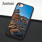 Juntsai Famous Colosseum Rome Italy Phone Case For IPhone 7 6 6s Plus Rubber Cover For IPhone7 8 Plus X 5 5s SE Full Back Shell