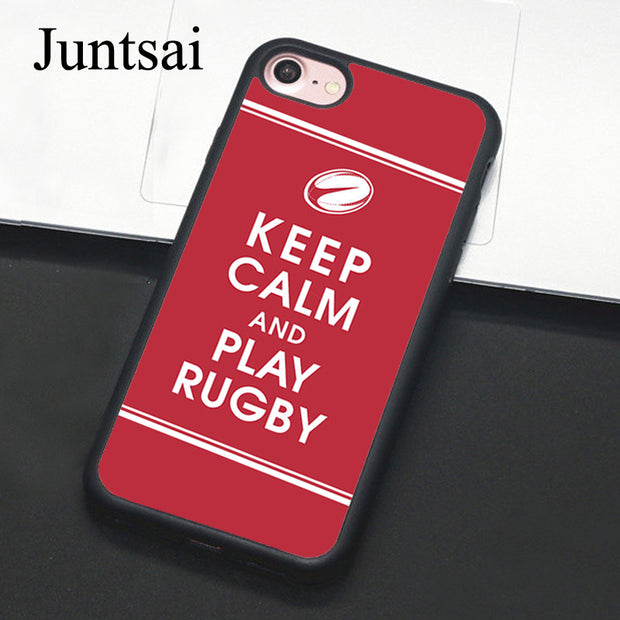 Juntsai Keep Calm And Play Rugby Phone Case For IPhone 7 6 6s Plus Rubber Cover For IPhone7 8 Plus X 5 5s SE Full Back Shell