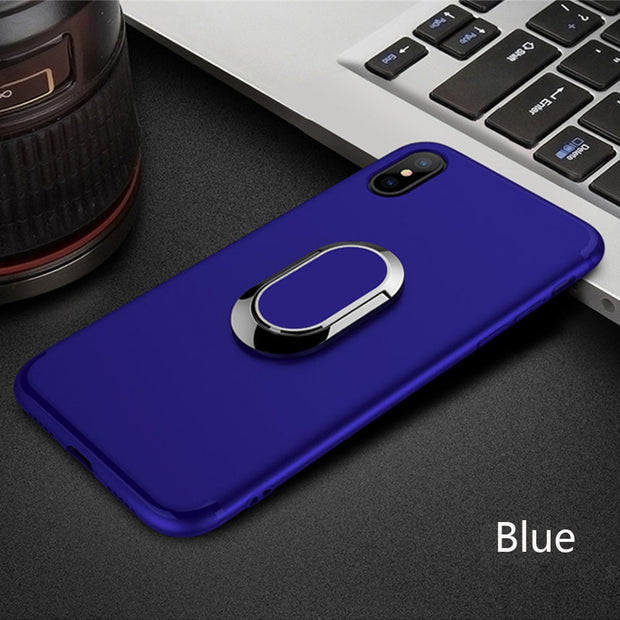 KDTONG Case For IPhone X 6s 7 8 Plus Case Luxury 360 Rotating Ring Soft Silicone TPU Cover For IPhone 7 Plus X 6 Case Cover Capa