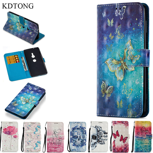 KDTONG For Sony Xperia XZ2 Case Luxury Flip Leather + Soft Silicone Magnetic Wallet Cover Case For Sony Xperia XZ2 Compact Case