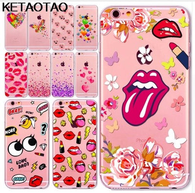 KETAOTAO Cute Pink Heart Sexy Girl Lips Cases For IPhone 4S 5C 5S 6S 7 8 Plus XR XS Max Case Crystal Clear Soft TPU Cover Cases