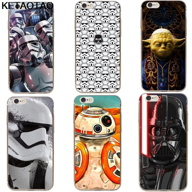 KETAOTAO Star Wars The Last Jedi Porgs R2D2 BB8 Phone Cases For IPhone 4 5S  6S XR XS Max Case Crystal Clear Soft TPU Cover Cases