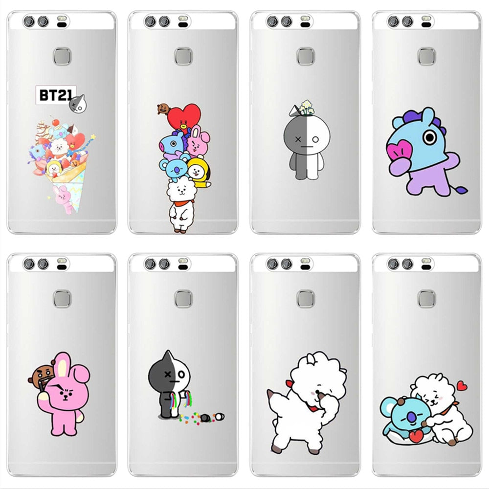 KPOP BTS Signature Case For Huawei P8 P9 P10 P20Lite Plus 2017 Cover Love Yourself Bangtan BT21 Soft Silicone Cases