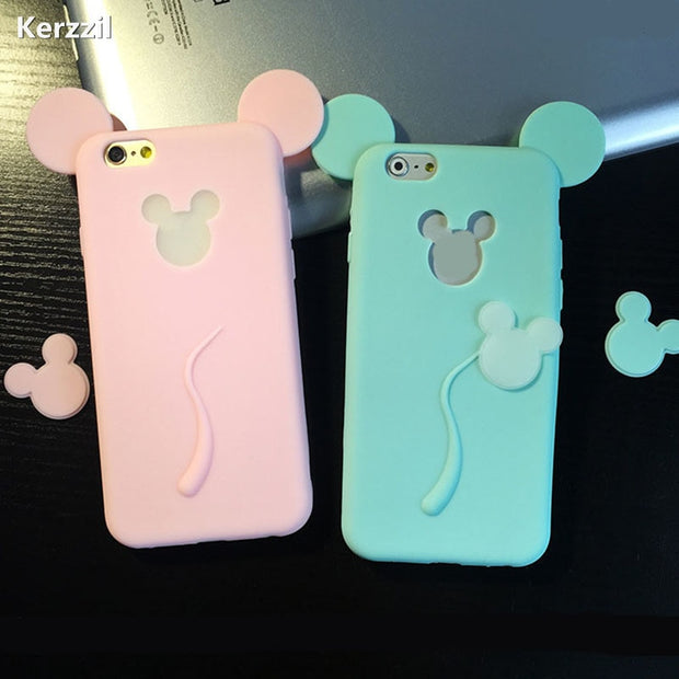 Kerzzil 3D Soft For Cartoon Cat Case For Iphone 6 6S 6plus 6s Plus Phone Cases For Iphone 7 7plus Cute Candy Silicone Cover Back