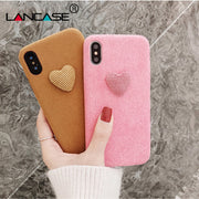 LANCASE Love Case For IPhone X Winter Fur Hair Hard Plastic Case Coque For IPhone X 10 8 7 6s Plus Cover Candy Heart Phone Bags
