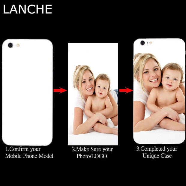 LANCHE Customized Print Photo Phone Case For IPhone X 6 6s 7 8 Plus Case Soft Clear TPU DIY Unique Cover For IPhone 4 4S 5 5S Se