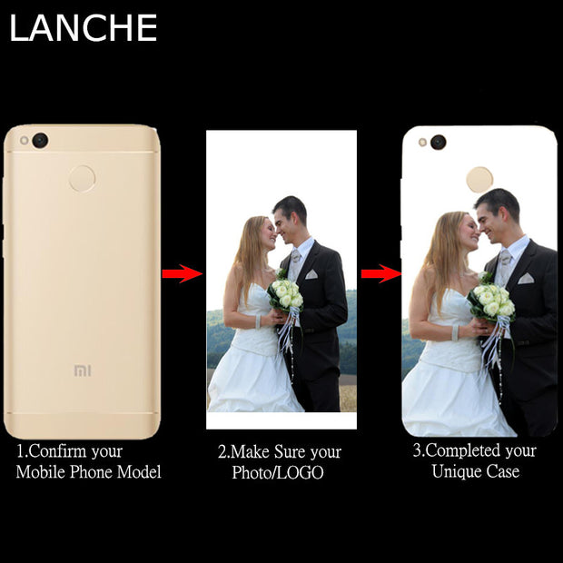 LANCHE DIY Phone Case For Xiaomi Redmi 4X 4A Note 4 4X 3 Case Transparent Soft Silicon Print Photo Custom Cover For Redmi Note 3