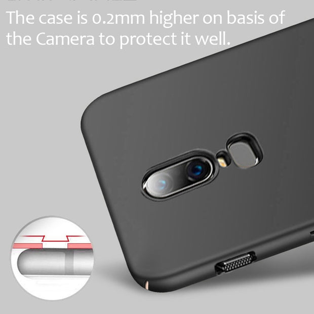 LOTASCA Plastic Case For OnePlus 6 Coque 360 Full Cover For One Plus Six Ultra Thin Luxury Back Cover Black Hard Funda 6.28 Inch