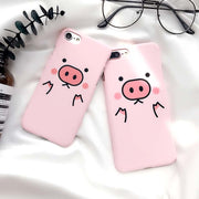 LOVECOM Cartoon Animal Funny Pink Pig Phone Case For IPhone 5 5S SE 7 8 6 6S Plus X Hard PC Frosted Matte Hard PC Cases Cover