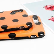 LOVECOM Cute Orange Color Dot Phone Case For IPhone 6 6S 7 8 Plus X 10 Glossy Soft IMD Phone Back Cover Cases Coque
