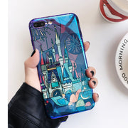 LOVECOM Fireworks Cartoon Phone Case For Iphone 7 6 6s 8 Plus X Cases Blu-Ray Fairy Tale Castle Soft Back Cover Coque