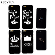 LUCKBUY OEM King Queen Best Friend He She Is Mine Couples Matching Cell Phone Case For Iphone 4s 5s 5c 6 6s Plus Customized Case