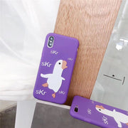 LUDI Cute Duck Animal Phone Case For IPhone 7 7Plus Soft Silicon Case For IPhone X 6 6S 8 Plus Simple Letters Purple Coque Capa