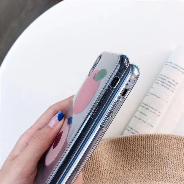 LUDI Cute Peach Phone Case For IPhone 7 7Plus Soft Silicon Phone Cover For IPhone X 6 6s 8 Plus Transparent Fresh Coque Capa Hot