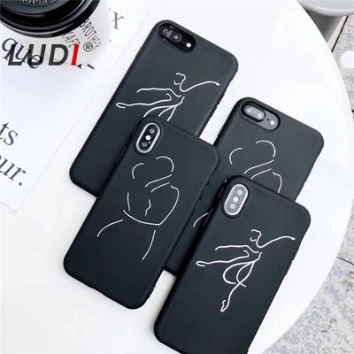 LUDI Simple Character Line Phone Case For IPhone 7 7Plus Soft Silicon Hug Dance Black Phone Bag For IPhone X 6 6S 8Plus Capas