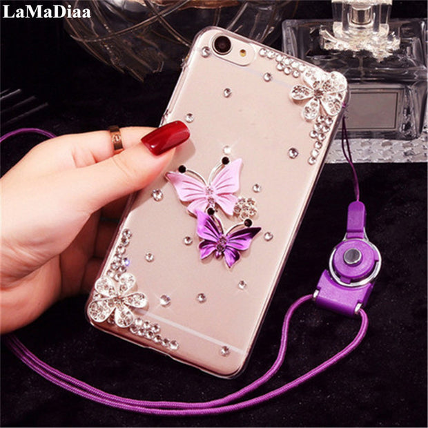 LaMaDiaa Case For Samsung Galaxy J5 J6 J7 J8 2016 2017 A6 A8 A7 A5 A3 2018 Luxury Bling Rhinestone Diamond Butterfly Phone Case
