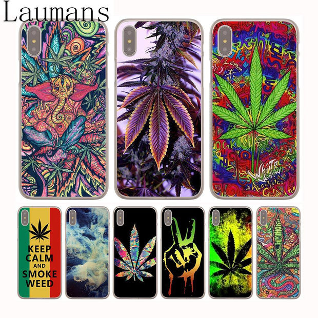 Laumans Abstractionism Art High Weed Tumblr Hard Transparent Cover Case For IPhone 8 Plus 7 Plus 6 6s Plus X/10 5S SE 4S