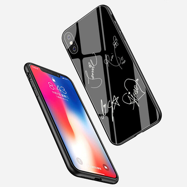 Lavaza Blackpink Signature Black Pink Tempered Glass Phone Cover Case For Apple IPhone XR X XS Max 8 7 6 6S Plus 5 5S SE Cases