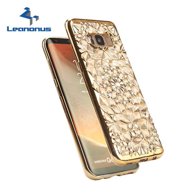 Leanonus 3D Relief Rugged Case Glitter Diamonds Phone Cases For Samsung Galaxy S8 Plus S7 S6 Edge Plating Gold TPU Soft Cover
