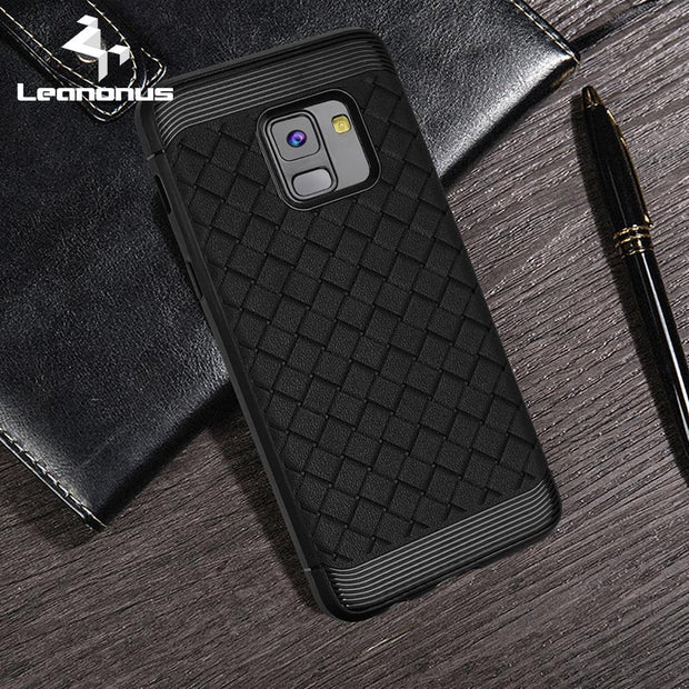 Leanonus Weave Pattern Silicone TPU Cases For Samsung Galaxy A8 A8Plus 2018 Braided Grain Soft Cover For Galaxy A8 A8+ 2018 Capa