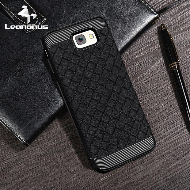 Leanonus Weave Pattern Silicone TPU Cases For Samsung Galaxy J7 Prime Braided Grain Soft Cover For Galaxy J5 Prime Capa Coque
