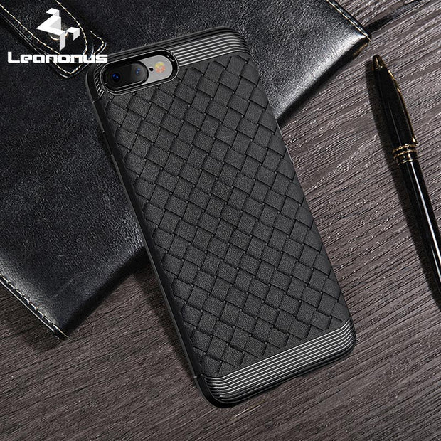 Leanonus Weaving Pattern Cases For IPhone 7 Plus Luxury Braided Grain Silicone Covers For IPhone 6 6S Plus Protective Coque