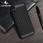 Leanonus Weaving Pattern Cases For IPhone X Luxury Braided Grain Silicone Covers For IPhone 8 Plus 8Plus Protective Coque