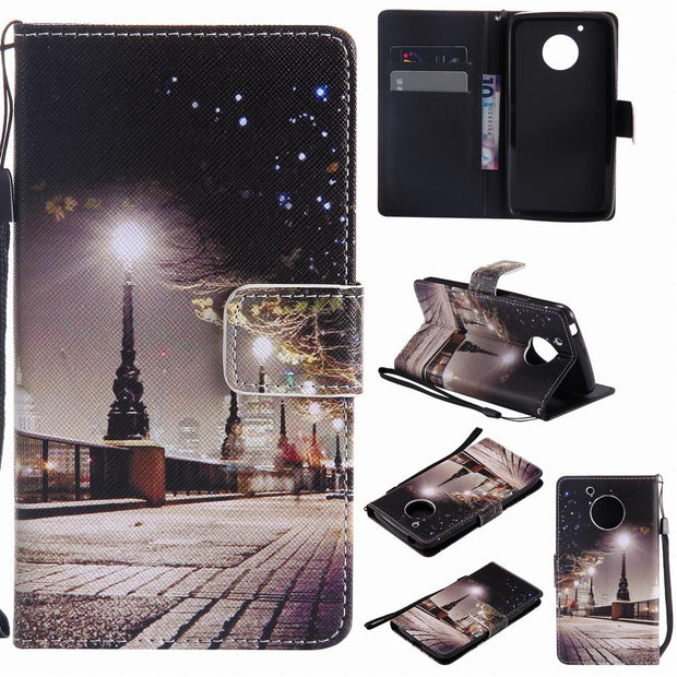 Leather Flip Fundas For Moto G4 Play G5 Plus Phone Bags For Sony Z5 X Performance XA Ultra XZ XR XZS Cases Colored Painted P06Z