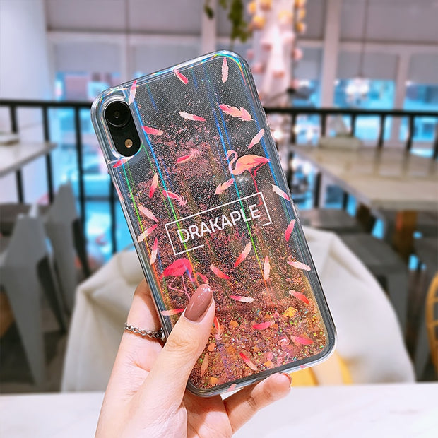 Liquid Glitter Phone Cases For Iphone XS MAX XR Stylish Funny For Apple Iphone X XR XS MAX Flashing Dynamic Quicksand Case Cover