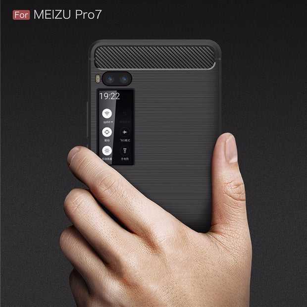 [Long Steven]For Meizu Pro 7 Case Ultra Thin Carbon Fiber Pattern Lightweight Protector Cover For Meizu Pro7 Case Funda Capa