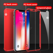 Luxury 360 Degree Phone Case For Iphone 6 Cover 6S 7 8 Plus Fundas Shockproof Full Cover For Iphone X 10 Cases Coque With Glass