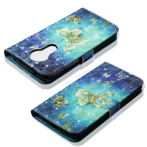 Luxury 3D Painting Flip Case For Motorola Moto E5 Plus E5+ / E Plus XT 1924 XT1924 XT-1924 Case Phone Leather Wallet Stand Cover