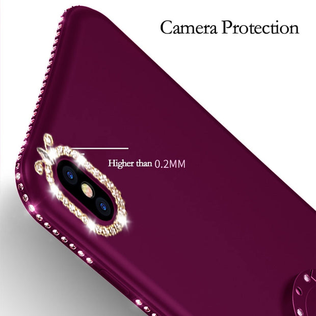 Luxury Bling Diamond Phone Cases For IPhone X XS Max XR 8 7 6 6s Plus Case Soft Cover With Rhinestone Finger Ring Holder Stand