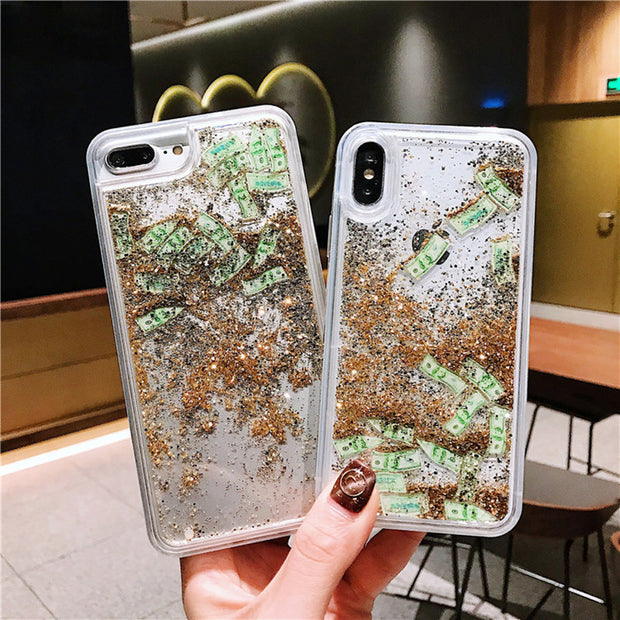 Luxury Dollars Glitter Quicksand Phone Case For IPhone X XS MAX XR Dynamic Liquid Hard Clear Case For IPhone 7 8 6 6S Plus Cover