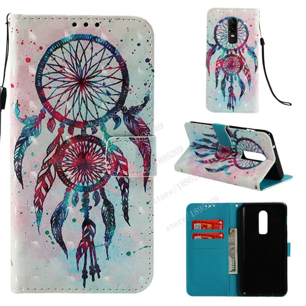 Luxury Fashion 3D Painting Flip Magnetic Leather Case For One Plus 6 Case For One Plus 6 1+6 Phone Leather Wallet Stand Cover