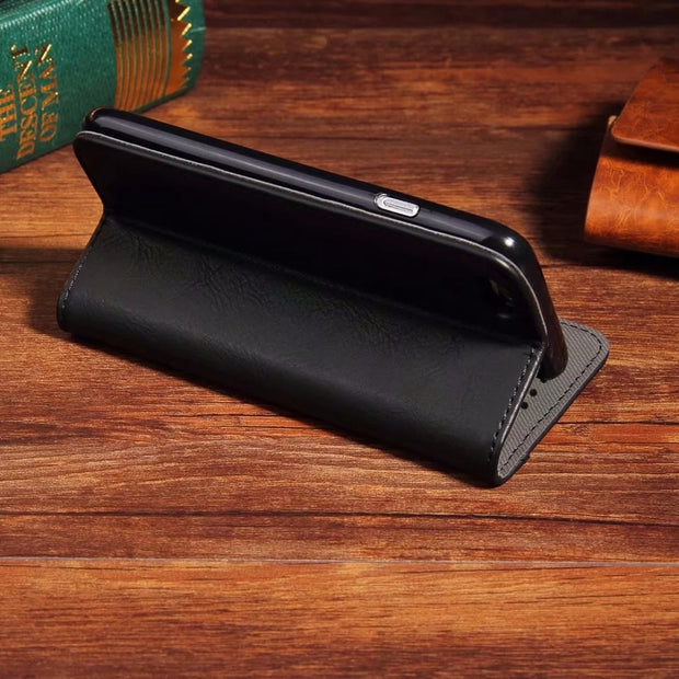 Luxury Flip Leather Phone Case For IPhone 7 5 5s SE 6 6 Plus Wallet Card Slots Vintage Cases Cover For IPhone X XS 8 Plus Bags