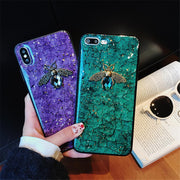 Luxury Glitter Green Diamond Crack Marble Phone Case For Iphone 8 7 Plus 6 S 6s Bling Bee With Wing Cover For Iphone XS MAX XR X