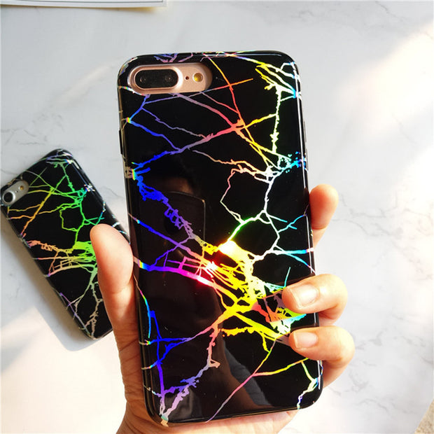 Luxury Glitter Marble Silicone Case For Iphone 7 8 6 S 6S Plus Glossy Granite Soft TPU Slim Phone Cover For Iphone X 7Plus 8plus