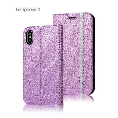 Luxury Glitter Wallet Phone Case For Apple IPhone 7 8 Plus PU Leather Flip Protect Cover For IPhone X XS XR Coque