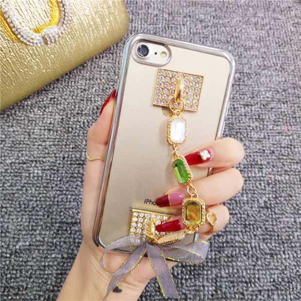 Luxury Handmade Diamond Crystal Bracelet Soft TPU Rubber Plating Phone Cover Case For SamsungA3 A5 A7 J3 J5 J7 2016 2017 Version