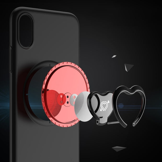 Luxury Holder Stand Cover For Iphone X 8 7 Plus Case Cute Cartoon Love Heart Bear Cow Finger Ring Kickstand Phone Cases PC Shell