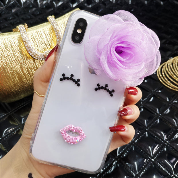 Luxury Lovely Bling Diamond Smiley Face Phone Case For IPhone X XR XS MAX 6 6S 6Plus 7 8 Plus Flower Glitter Lips Soft Cover
